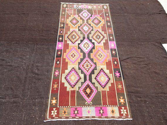 Pink Kurdish Kilim Rug 4 5 X9 10 Feet 136x300 Cm Flat Weave Woven Anatolian Area Kilim Rug Kurdish Pink Kilim Kilim Rug Pink Vintage Kilim
