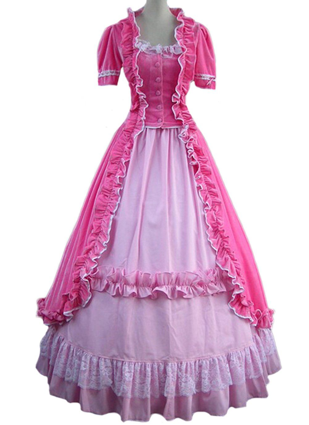 Amazon.com: AvaLolita Princess Pink Short Sleeves Gothic Victorian ...