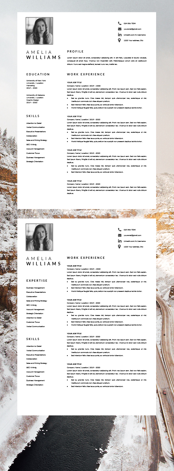CV Template Word Resume with Photo CV Resume Format