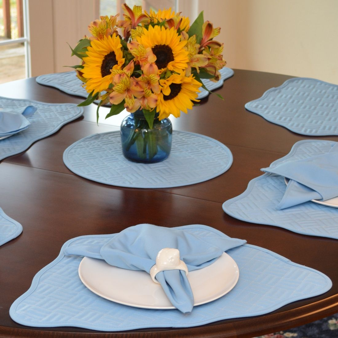 Sweet Pea Linens Cornflower Blue Quilted Scalloped Wedge Shaped