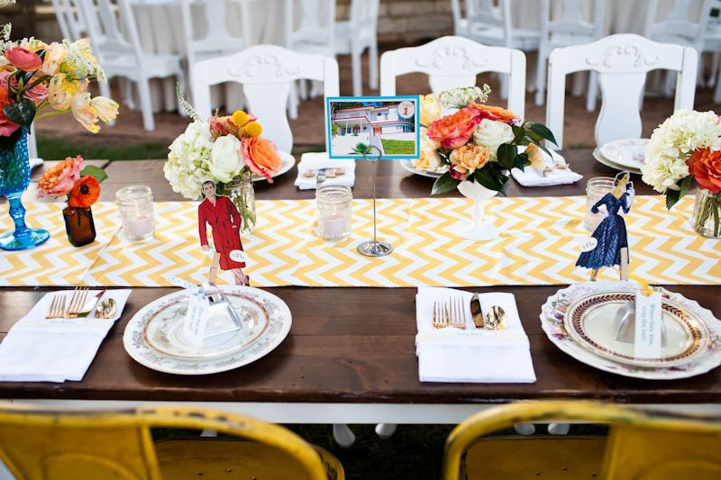 Yellow Chevron Head Table Quirky Mad Men Vintage Retro Table Decorations Yellow Chevron Head Table