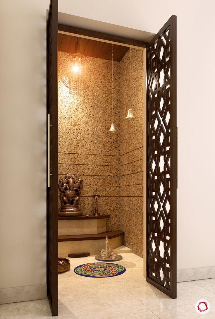10 Pooja Room Door Designs That Beautify Your Mandir Entrance: Puja Room Designs With Mesmerising Jaali Panels