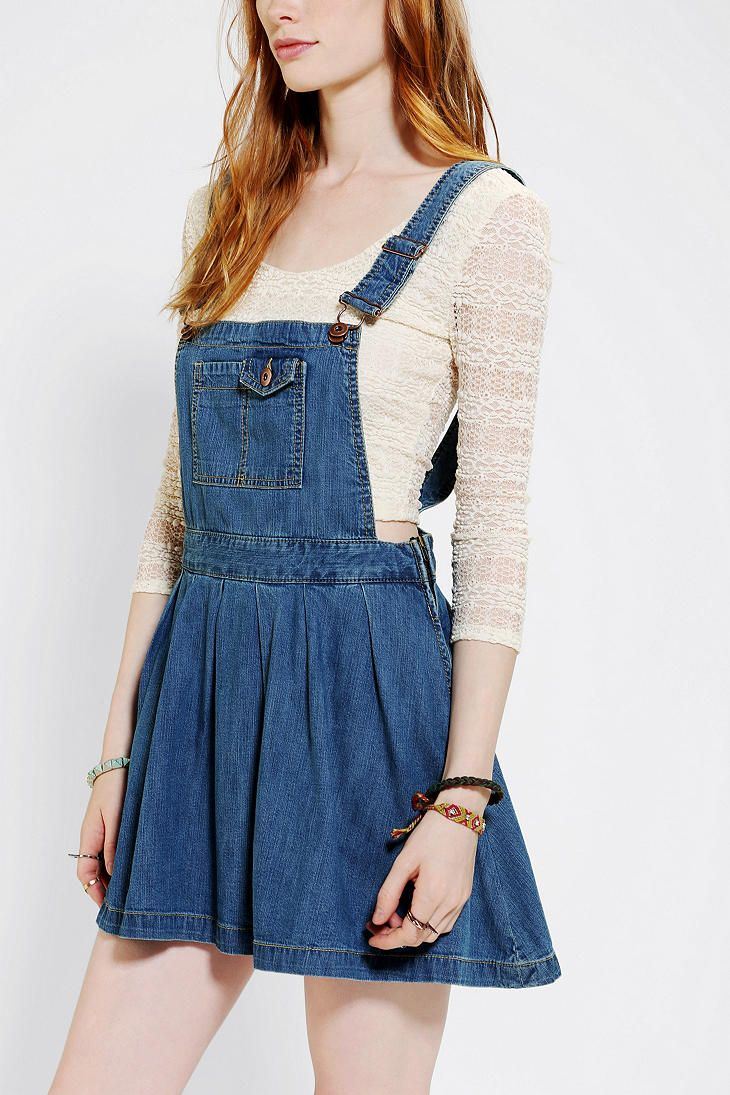 efd97fd3b4 Coincidence   Chance Pleated Denim Overall Skirt - Urban Outfitters ...