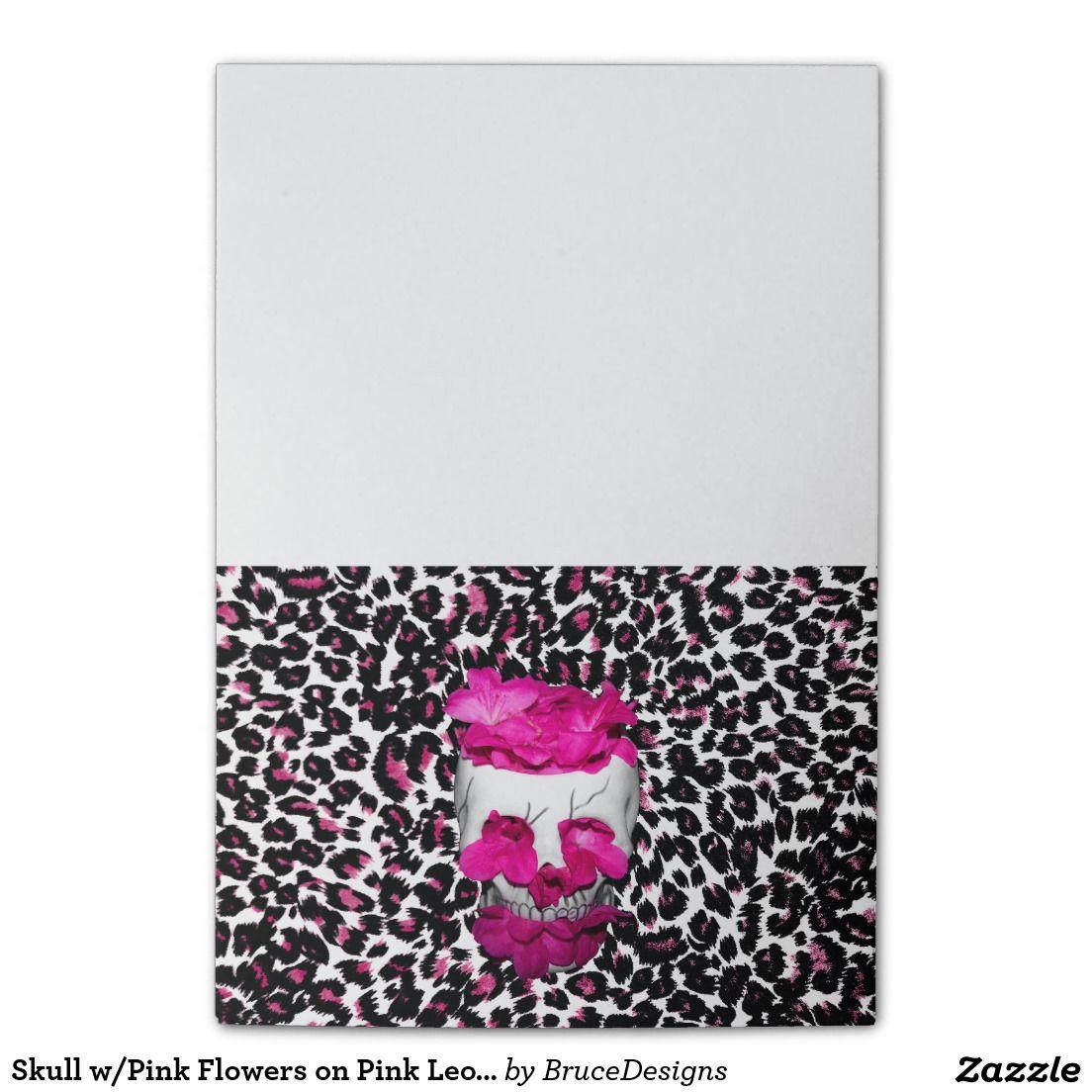 Skull wpink flowers on pink leopard print post it notes skull wpink flowers on pink leopard print post it notes mightylinksfo