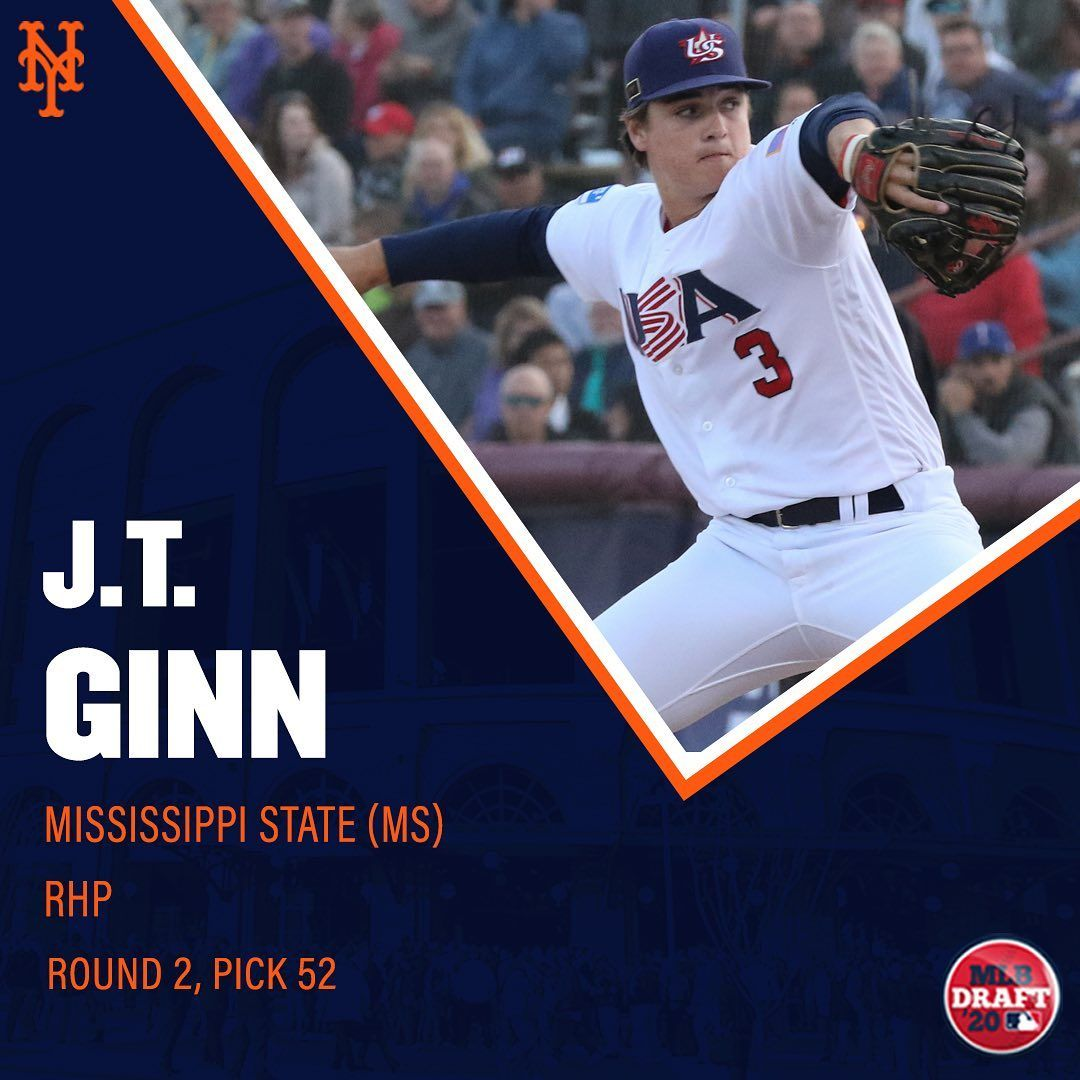 New York Mets Day 2 Of The Mlbdraft Started With Us Selecting Rhp J T Ginn From Hailstatebb In 2020 New York Mets Mets Mlb Chicago Cubs