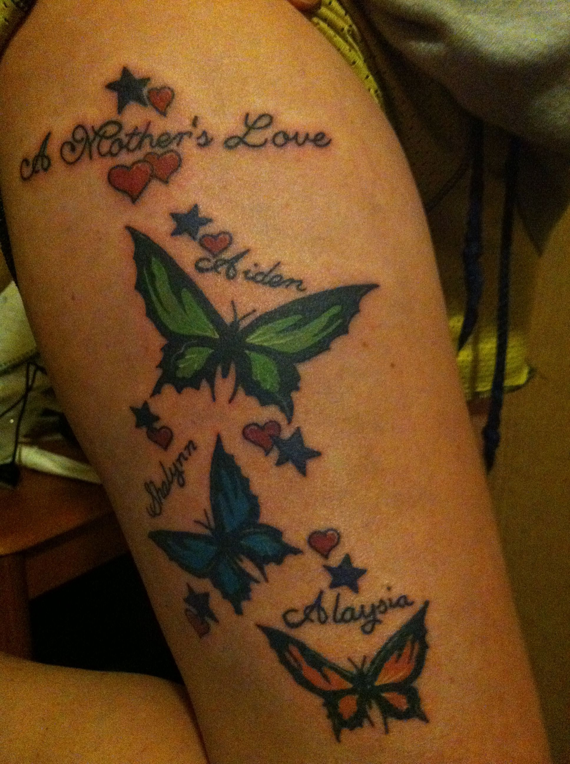 My thigh tat I just got on 2/2/13. All 3 my kids names in order they were born w... -  My thigh tat I just got on 2/2/13. All 3 my kids names in order they were born with their own color - #born #childrensnamestattooideas #daughtersnametattoo #Kids #Names #ORDER #tat #thigh