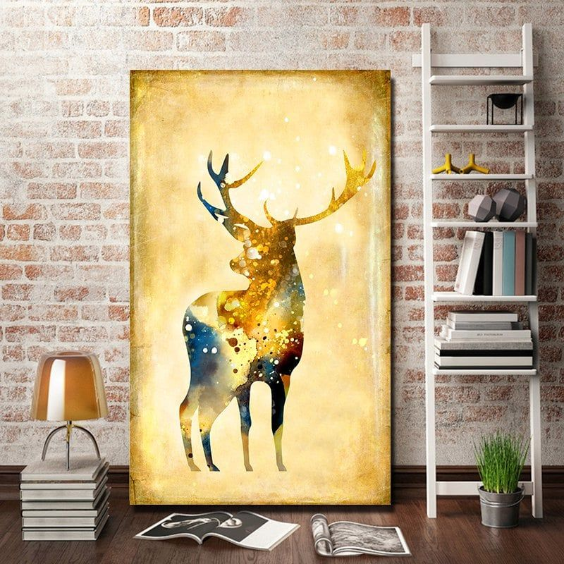 Restro Frameless Canvas Print of Elk for Home Wall Decoration | Wall ...
