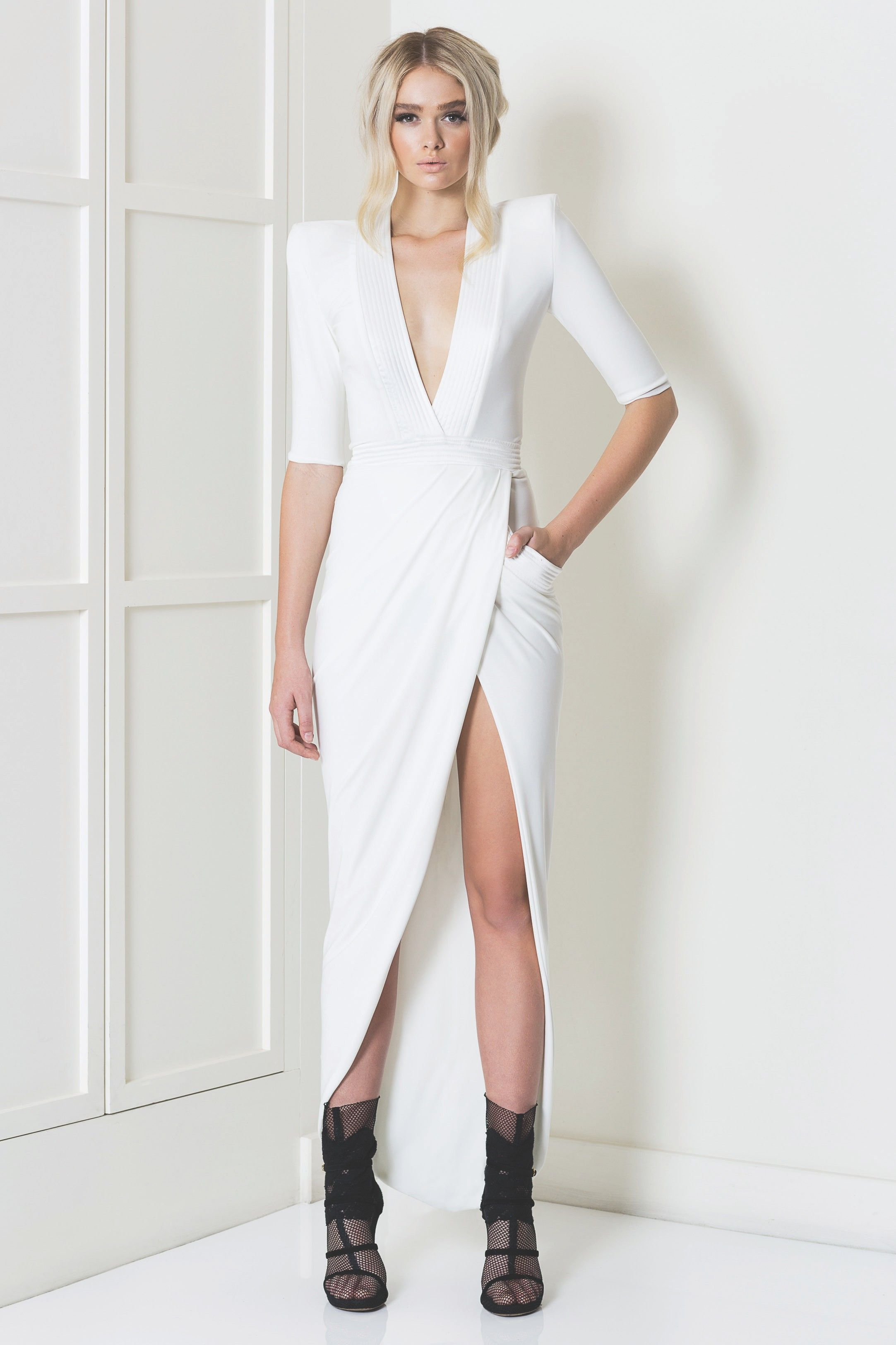 FULL LENGTH STRETCH JERSEY GOWN WITH MID LENGTH SLEEVES 9664fa756