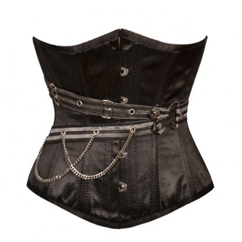 black satin underbust gothic chains corset with images