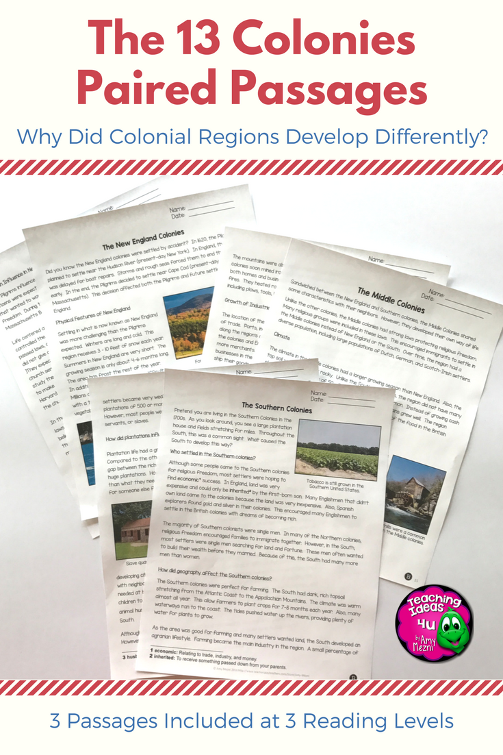 13 Colonies Paired Passages Reading Comprehension Writing Colonial America Reading Comprehension Worksheets Social Studies Middle School Paired Passages [ 1102 x 735 Pixel ]