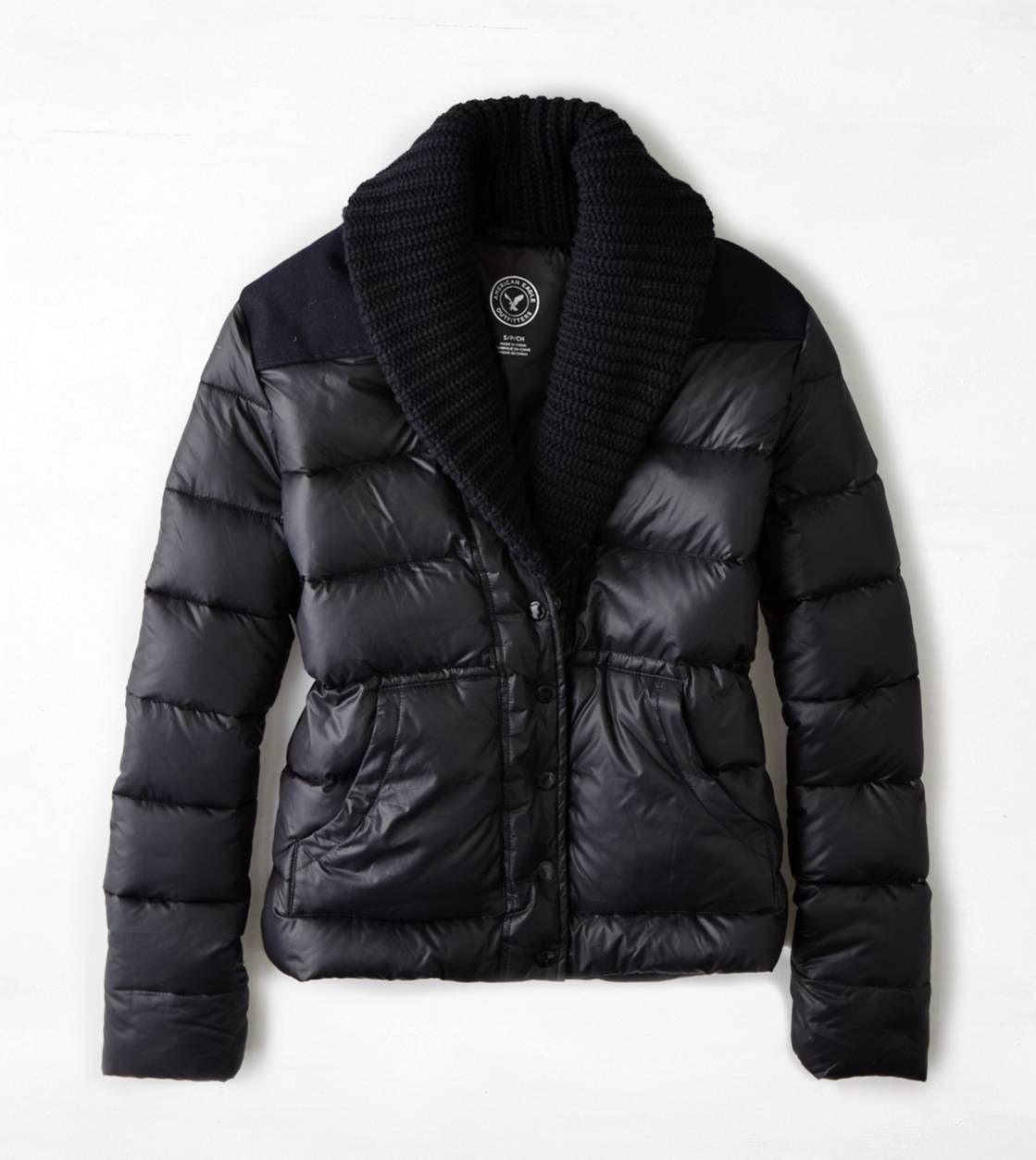 Aeo Shawl Collar Puffer Jacket Jackets Jackets For Women Casual Coat [ 1253 x 1119 Pixel ]