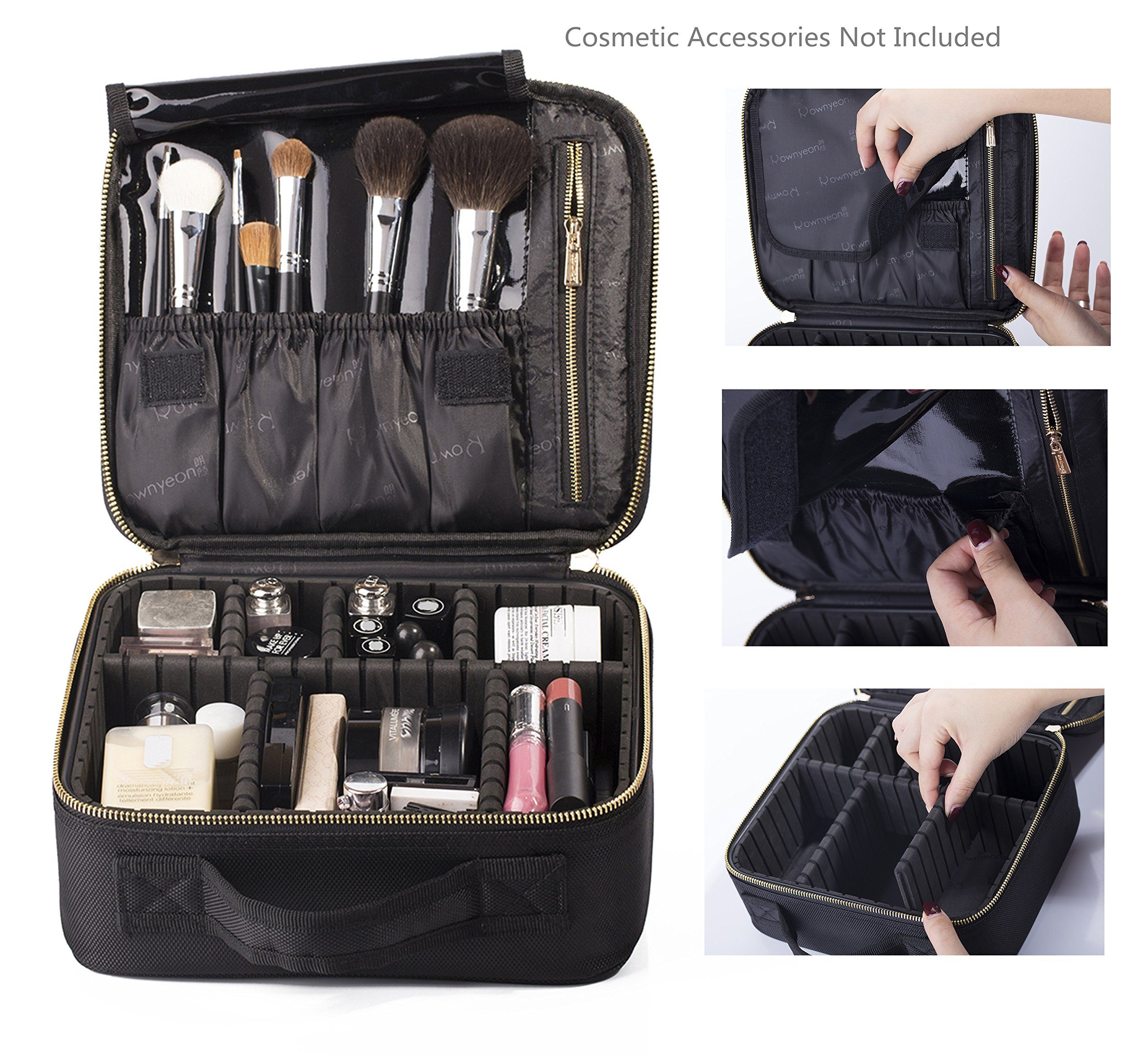 c3f06bb3bee482 ROWNYEON Mini Makeup Train Case/Travel Makeup Case/Makeup Organizer Bag  with Portable EVA and freely combined