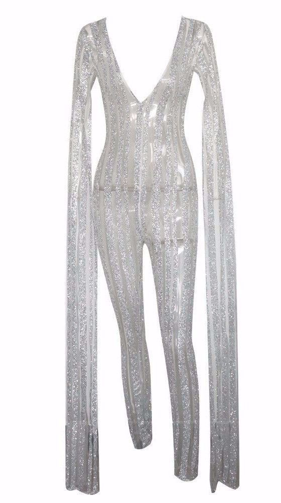 4addef676d1 Plunge neck stripe sequin floor length long sequin bat-sleeve jumpsuit  outfitDetails Polyester Sequin Imported Delicate Cold Wash Fits True To Size