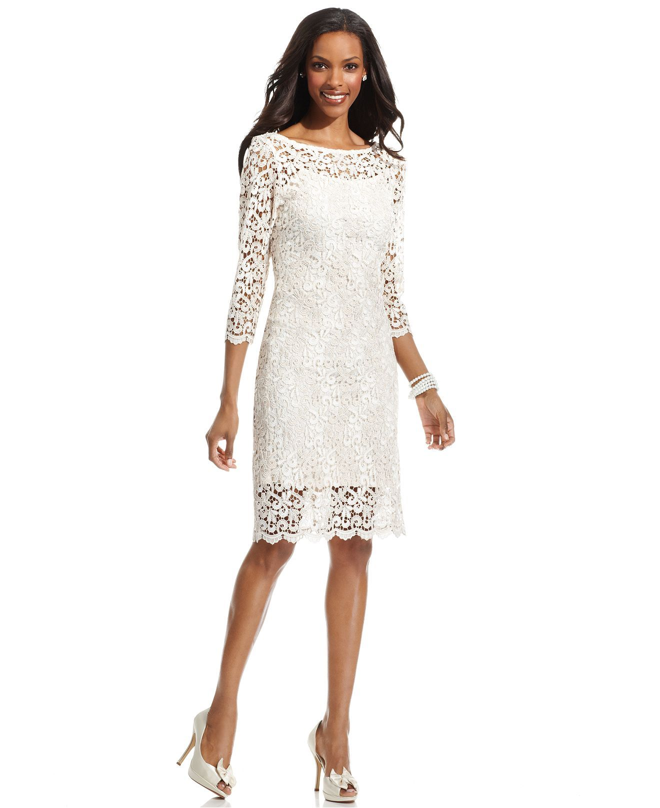 Wedding dresses at macy's  Marina Dress ThreeQuarterSleeve Lace Sheath for vow renewal