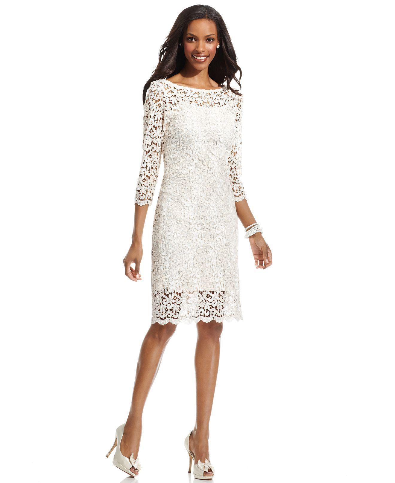 Marina Dress Three Quarter Sleeve Lace Sheath Womens Dresses Macy 39 S