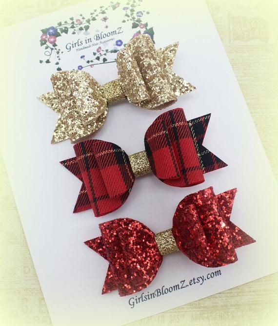 Christmas hair bows set/Girls glitter hair bow/Gold glitter bow/Red glitte bow/Red tartan hair bow/C #hairbows