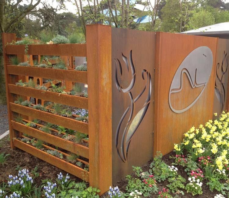 brise vue jardin et d co en acier corten 30 id es splendides fences fence gate and garden. Black Bedroom Furniture Sets. Home Design Ideas