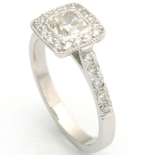 c09885d457c8 White Gold Tiffany Legacy Style Cushion Cut Diamond Engagement Ring ...
