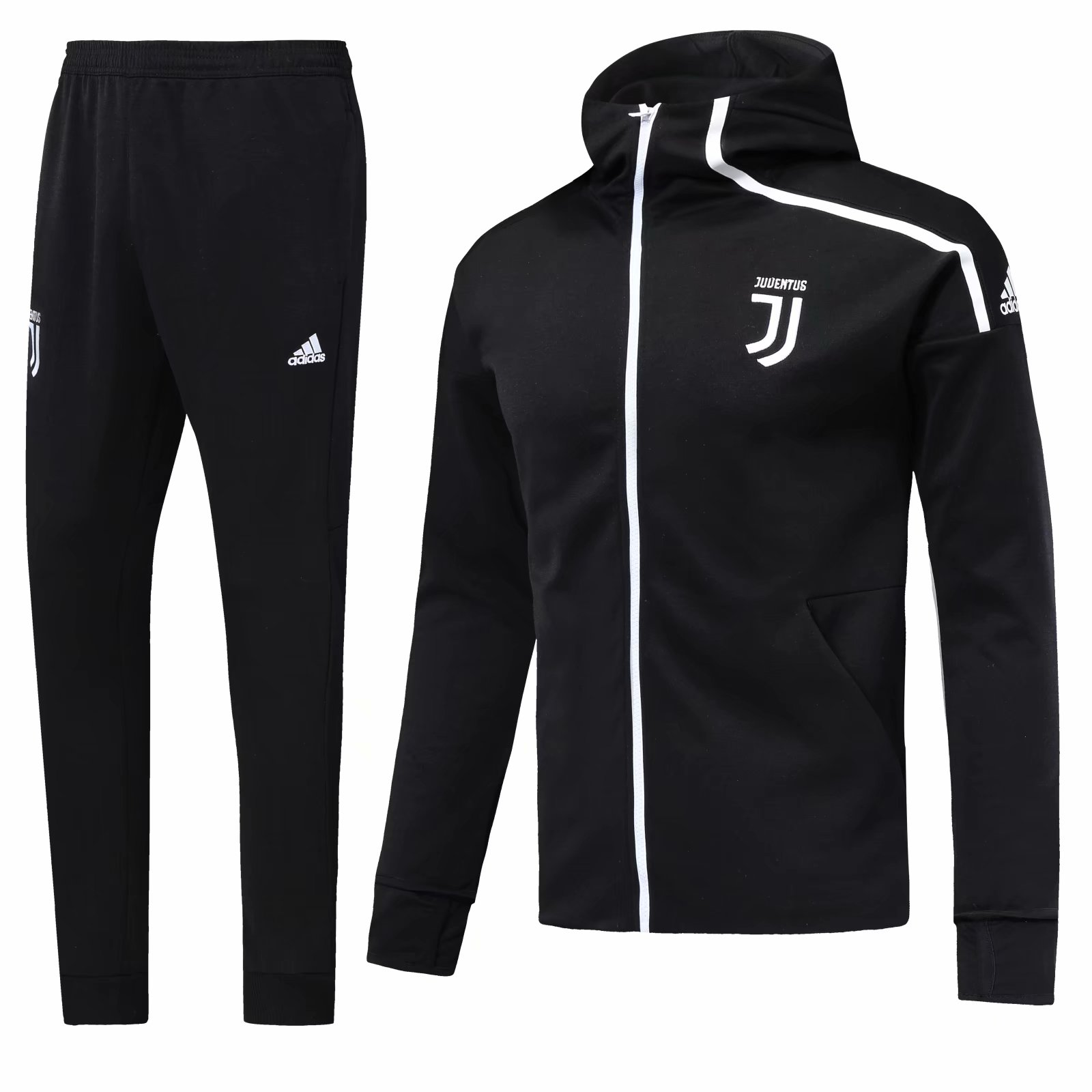 395b61409 Juventus 18 19 Black Hoodie Men Jacket Tracksuit Slim Fit in 2019 ...