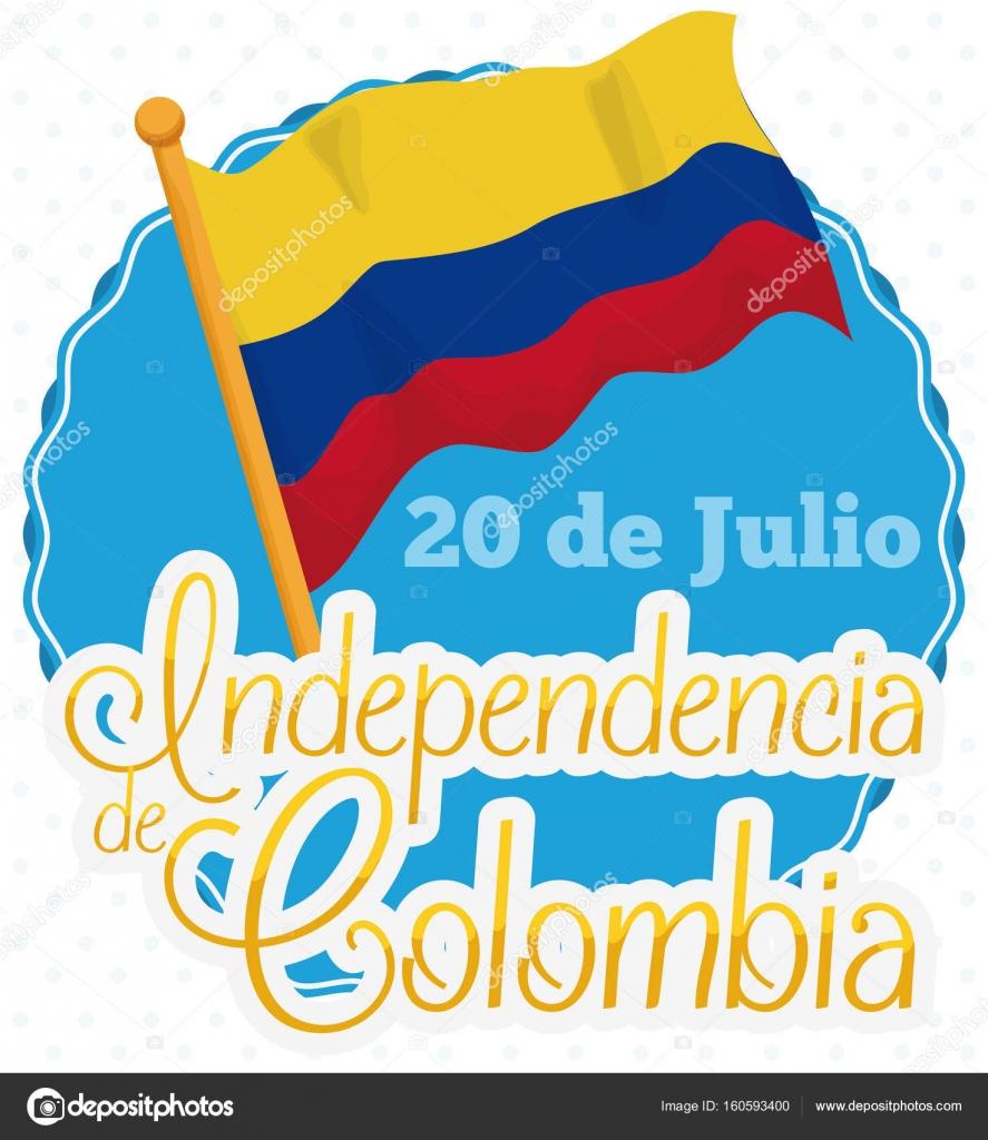 Descargar Etiqueta Redonda Con Ondeando La Bandera Colombiana Para El Dia De La Indepen Independencia De Colombia Dia De La Independencia Bandera De Colombia