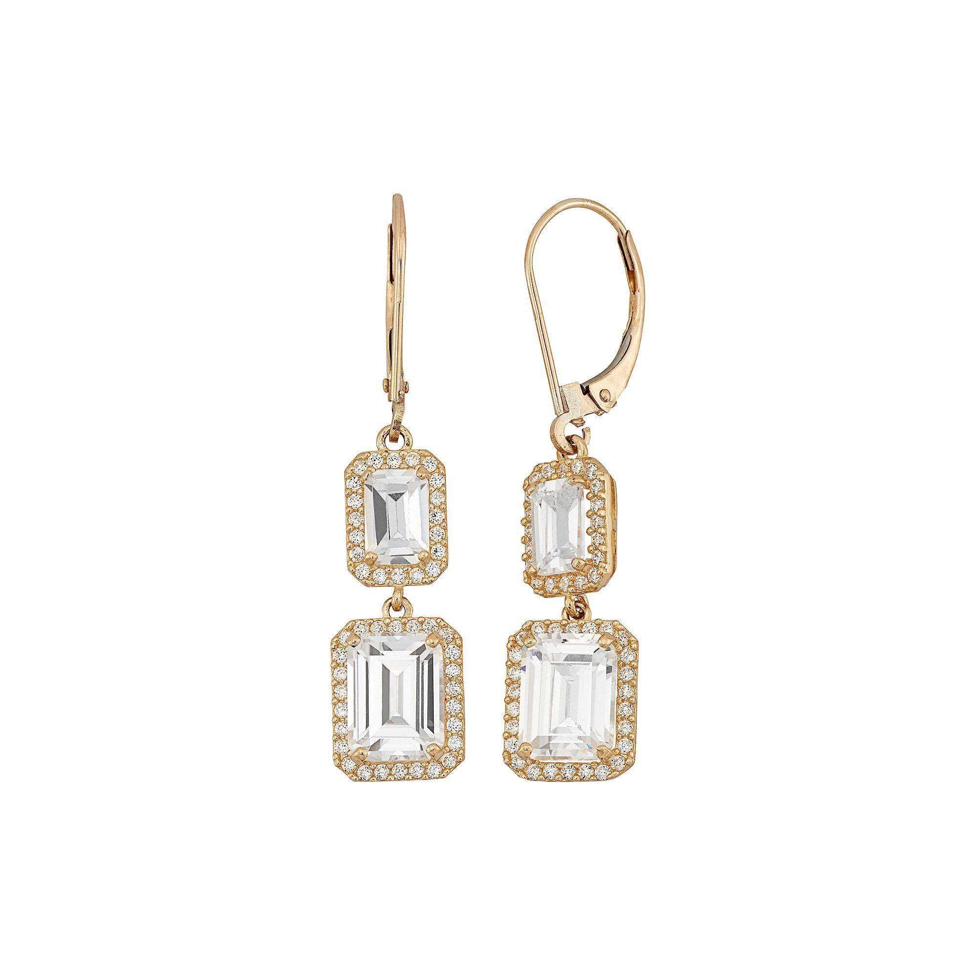 10K Gold Rectangular Drop Earrings