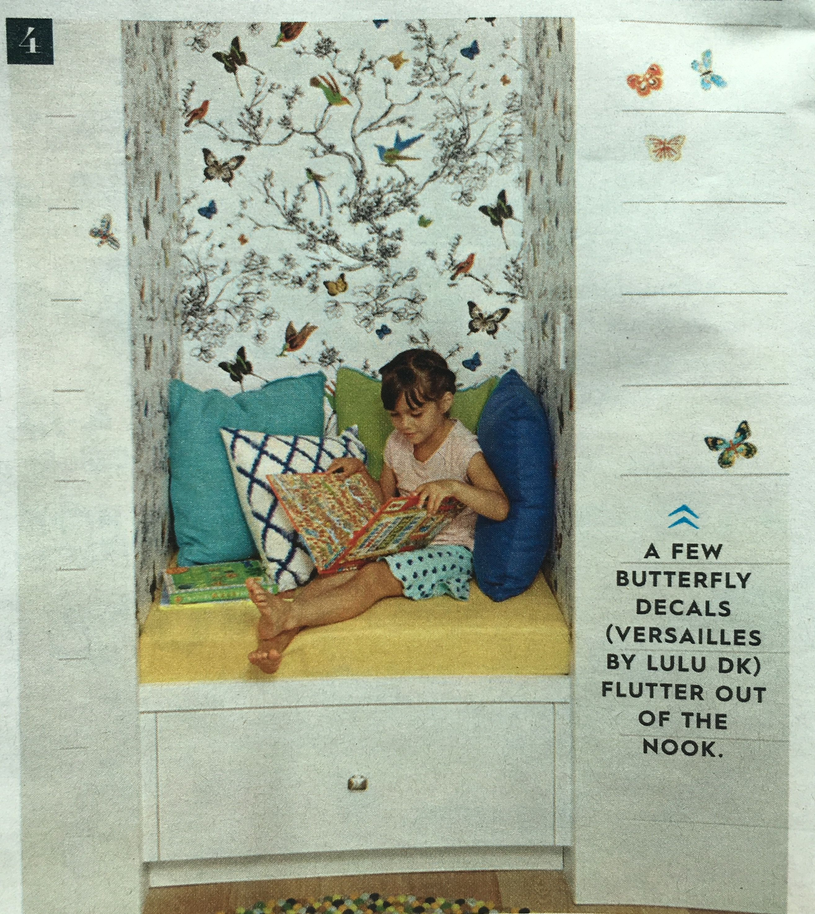 Schumacher wallpaper birds & butterflies reading nook