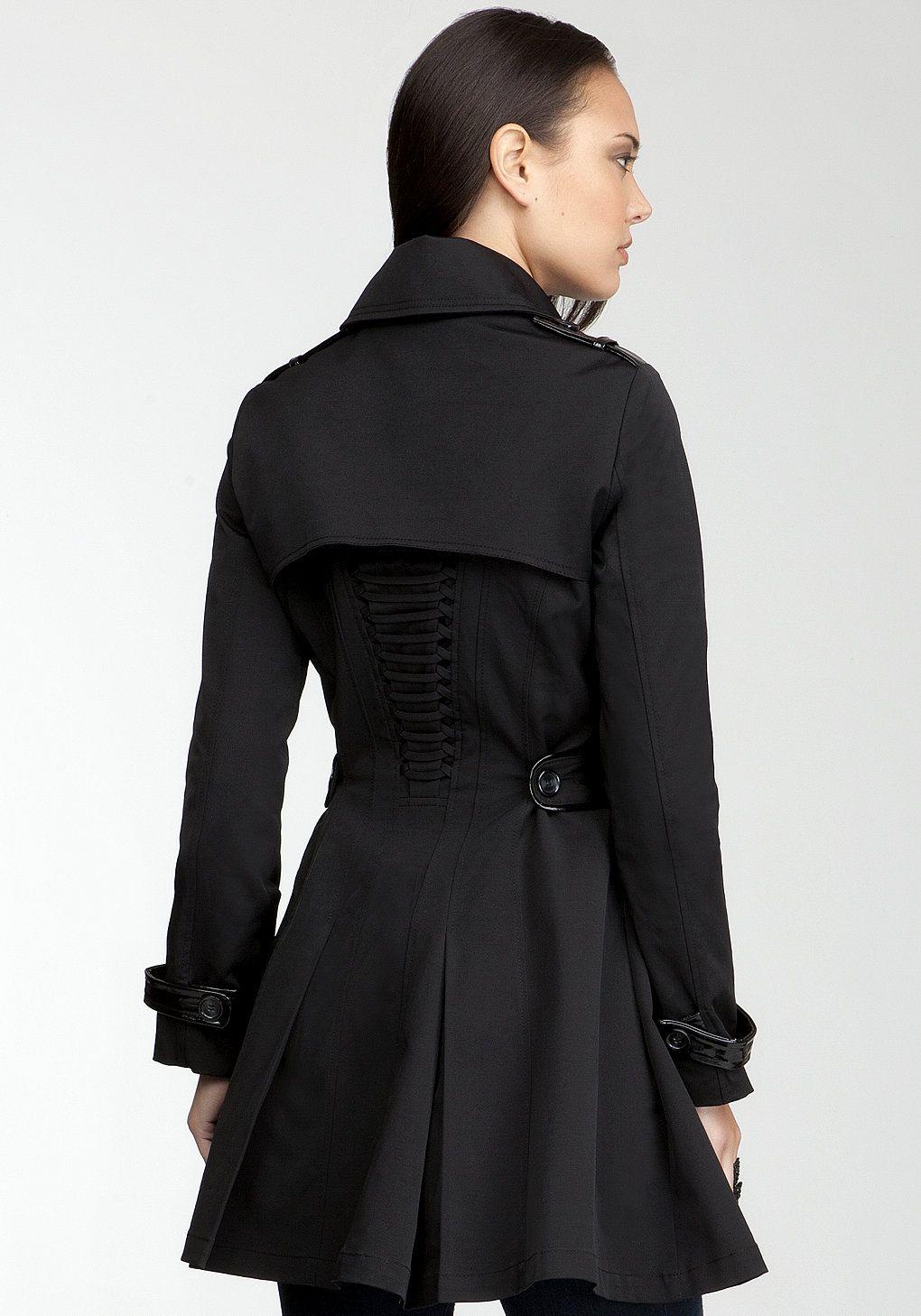 Bebe black leather trim corset dress