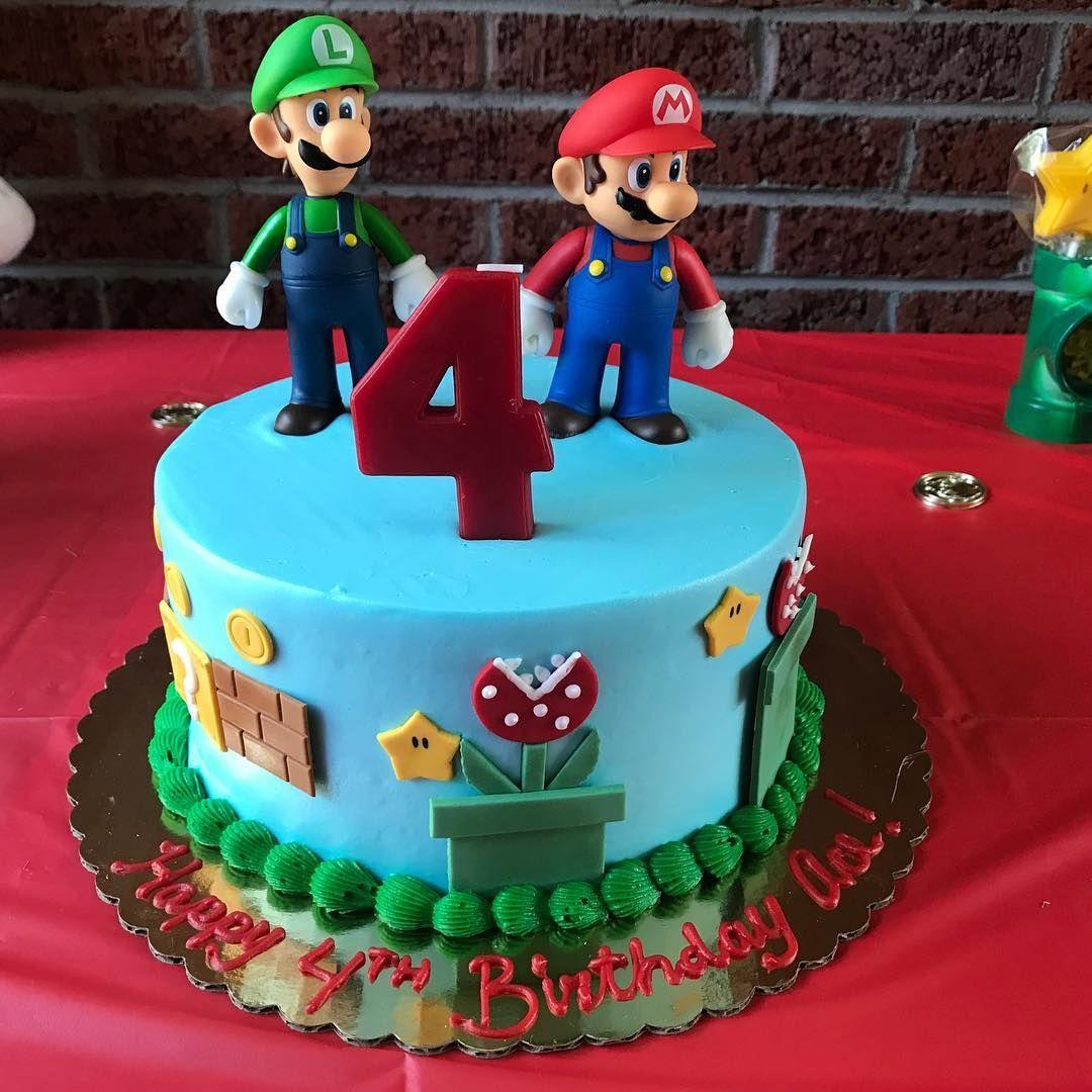 Fabulous Supermario Birthday Cake Mario Mariobros Chocolatechip Luigi Funny Birthday Cards Online Inifodamsfinfo