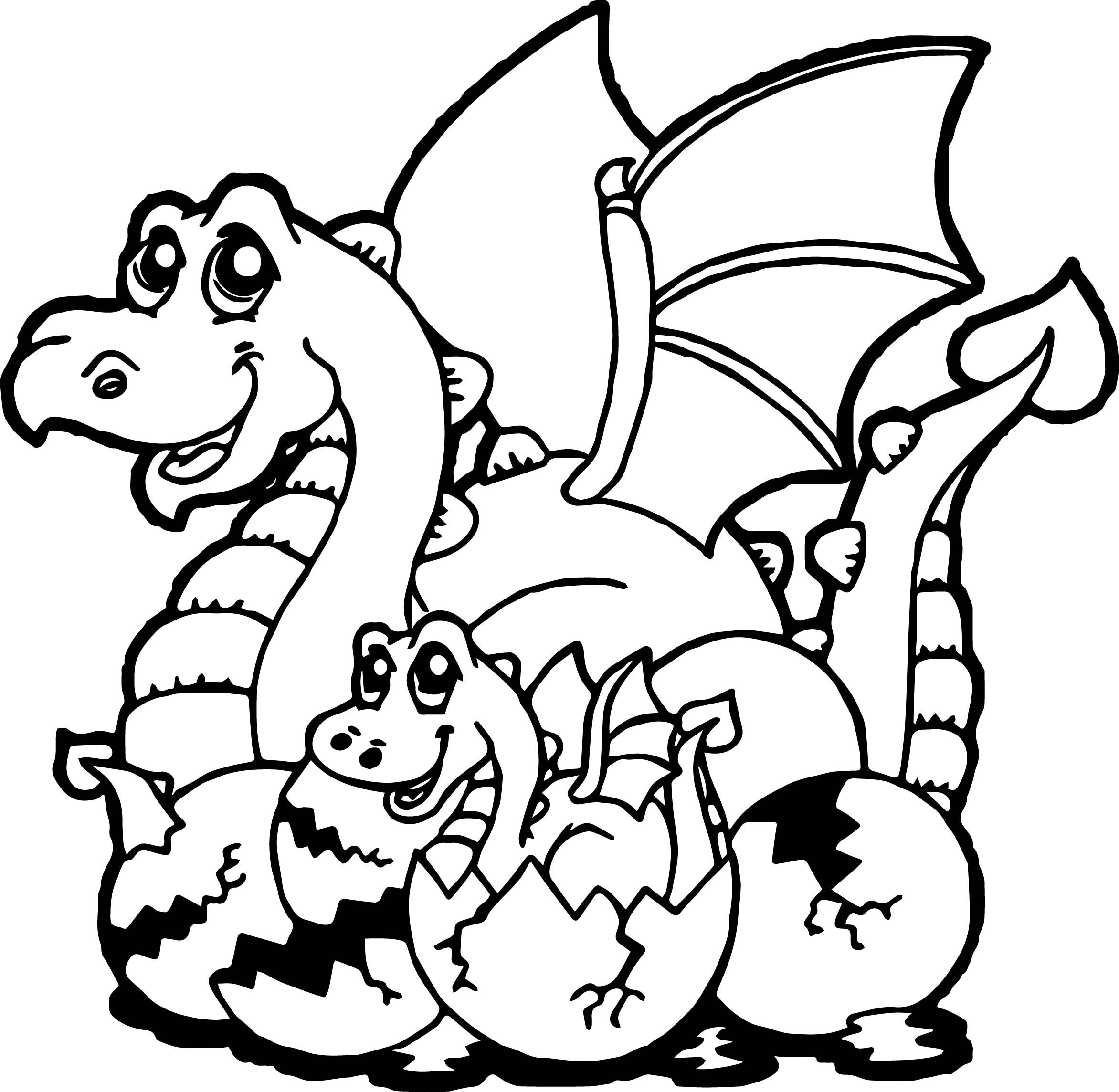 cool Baby Dragon Cartoon Coloring Page | Cartoon coloring ...