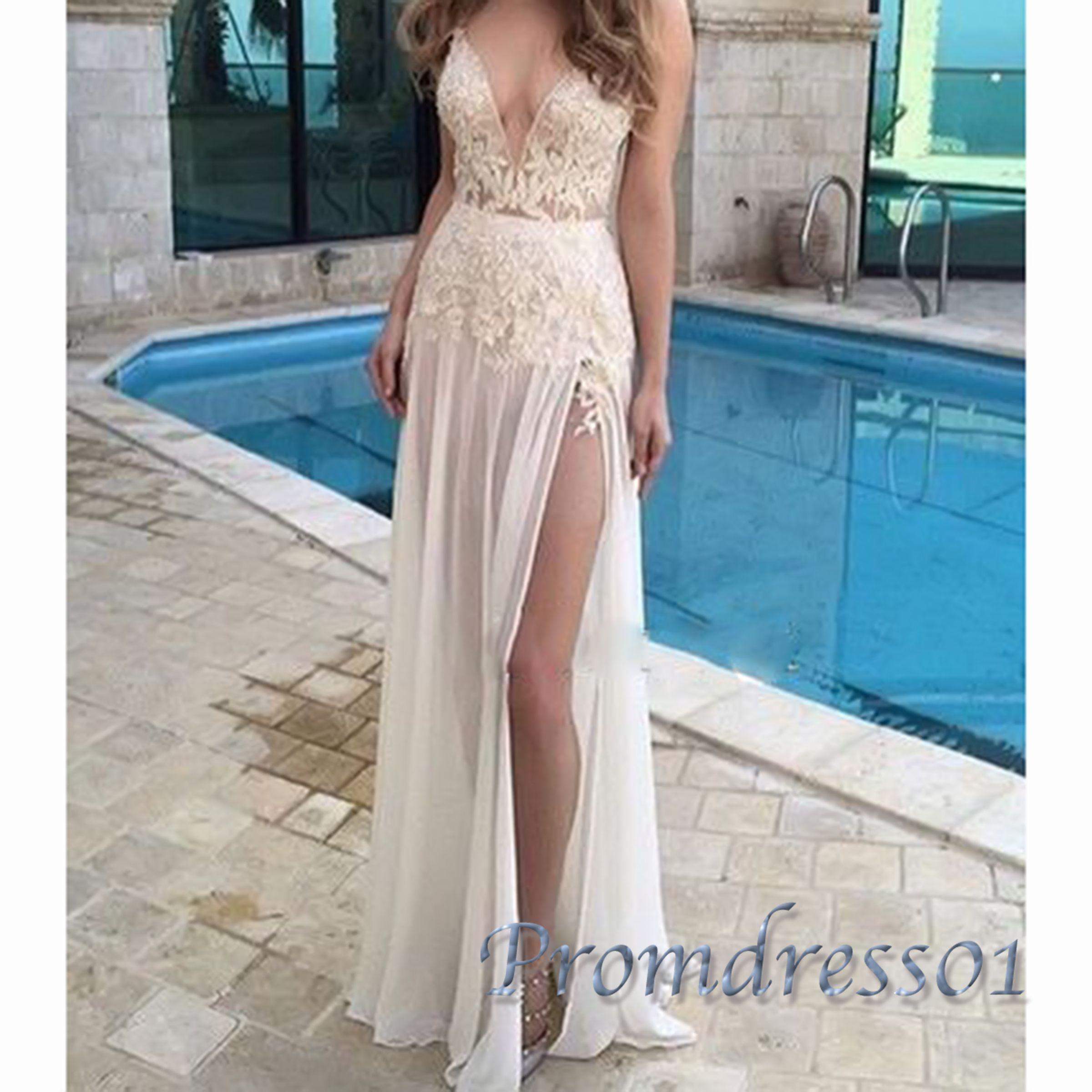 Sexy white deep lace vneck slit chiffon prom dress grad dress