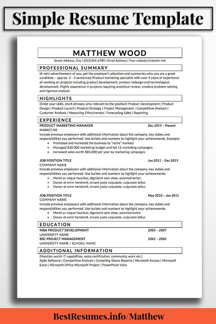 Resume Template Matthew Wood  Simple Resume Template Simple Resume