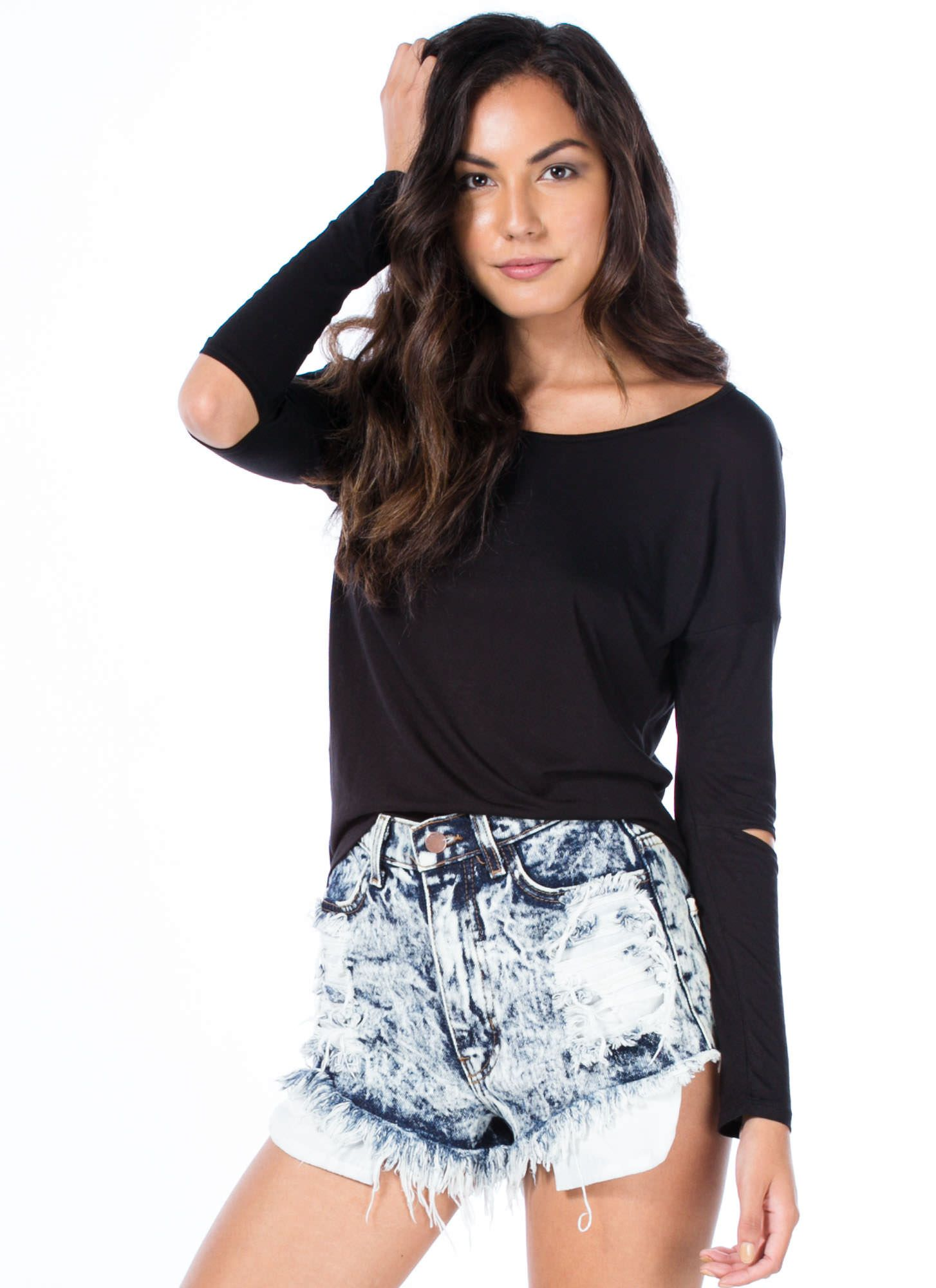 Rubbing Elbows Slit Sleeve High-Low Top BLACK CHARCOAL WHITE RED - GoJane.com