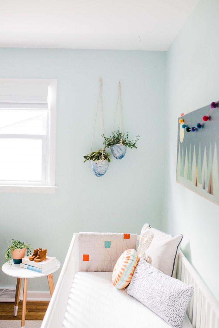 Leah Phillips Interiors Modern Nursery In Lido Green By Benjamin Moore Mint Boy Neutral One Room Challenge