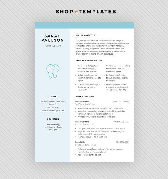 Resume Template \/ CV Template + Cover Letter for MS Word and - dentist cover letter