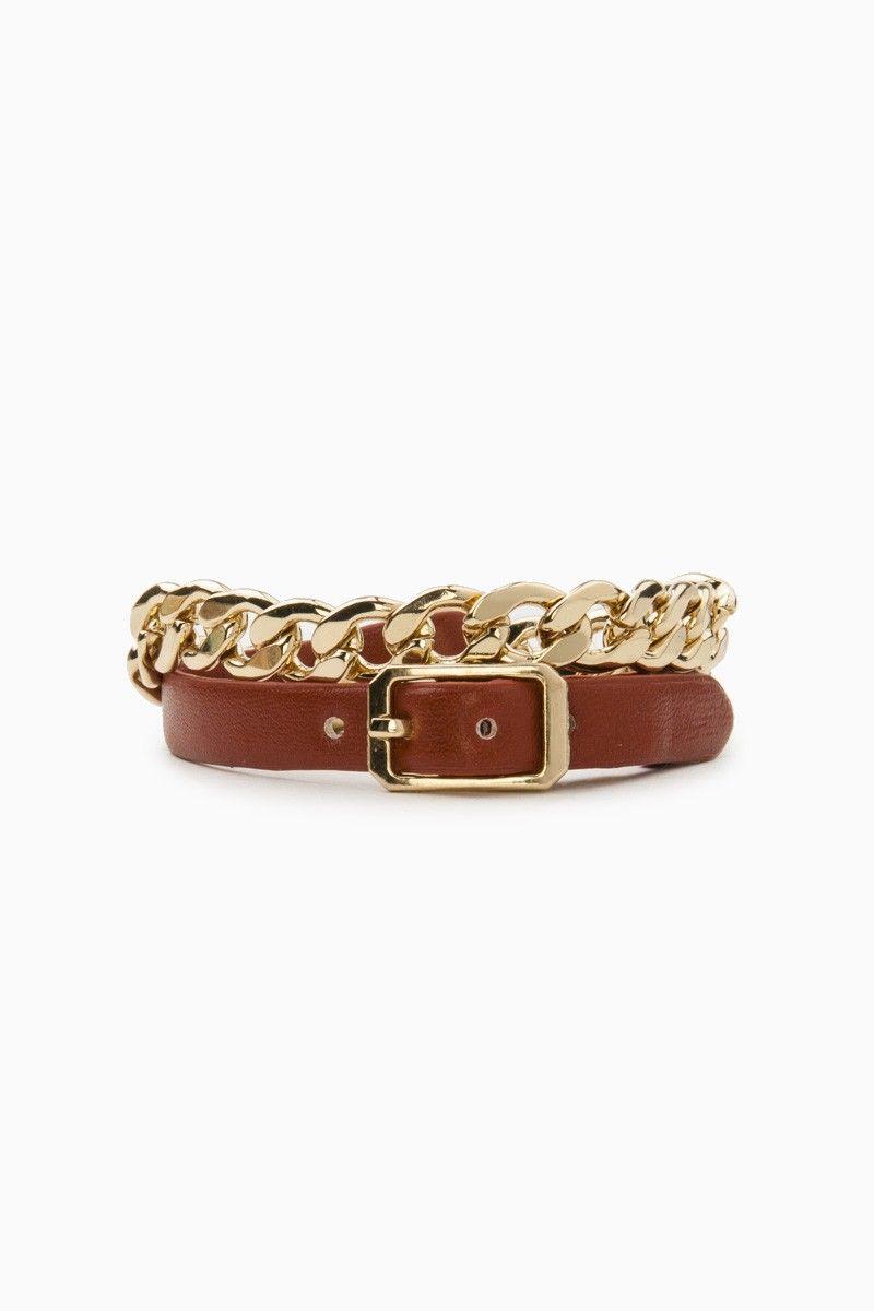 Verlaine Warp Bracelet / ShopSosie #gold #links #leather #wrap #bracelet #buckle #closure #accessories #shopsosie