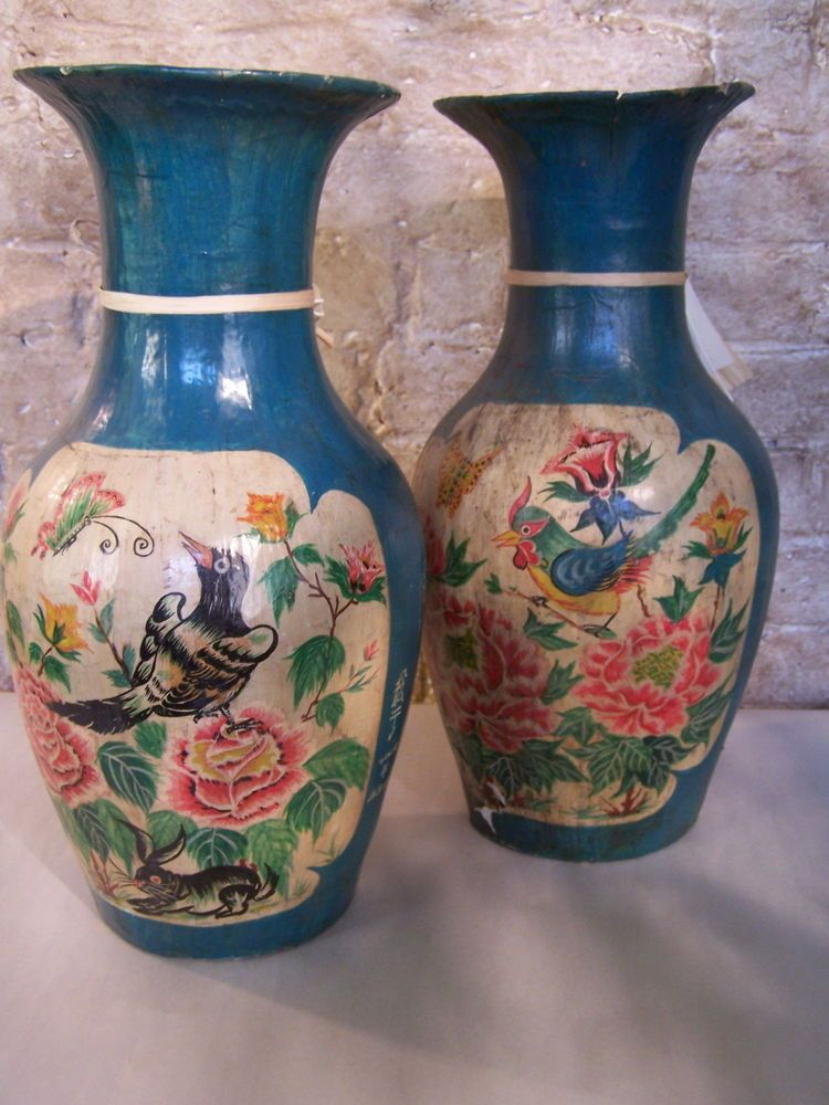Pair Of Chinese Paper Mache Vases All That Paper Pinterest