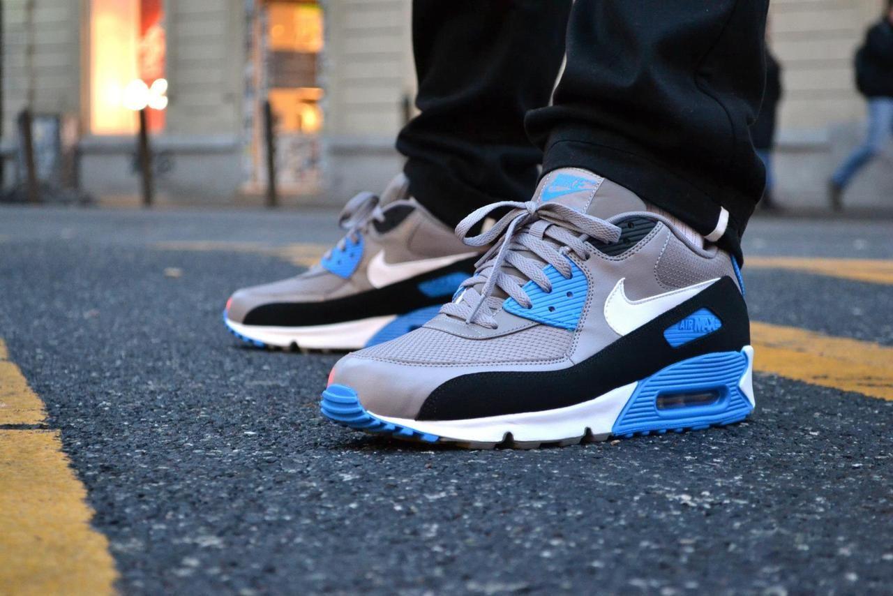 Nike Air Max 90 Essential - Sport Grey/Photo Blue | Nike air max ...