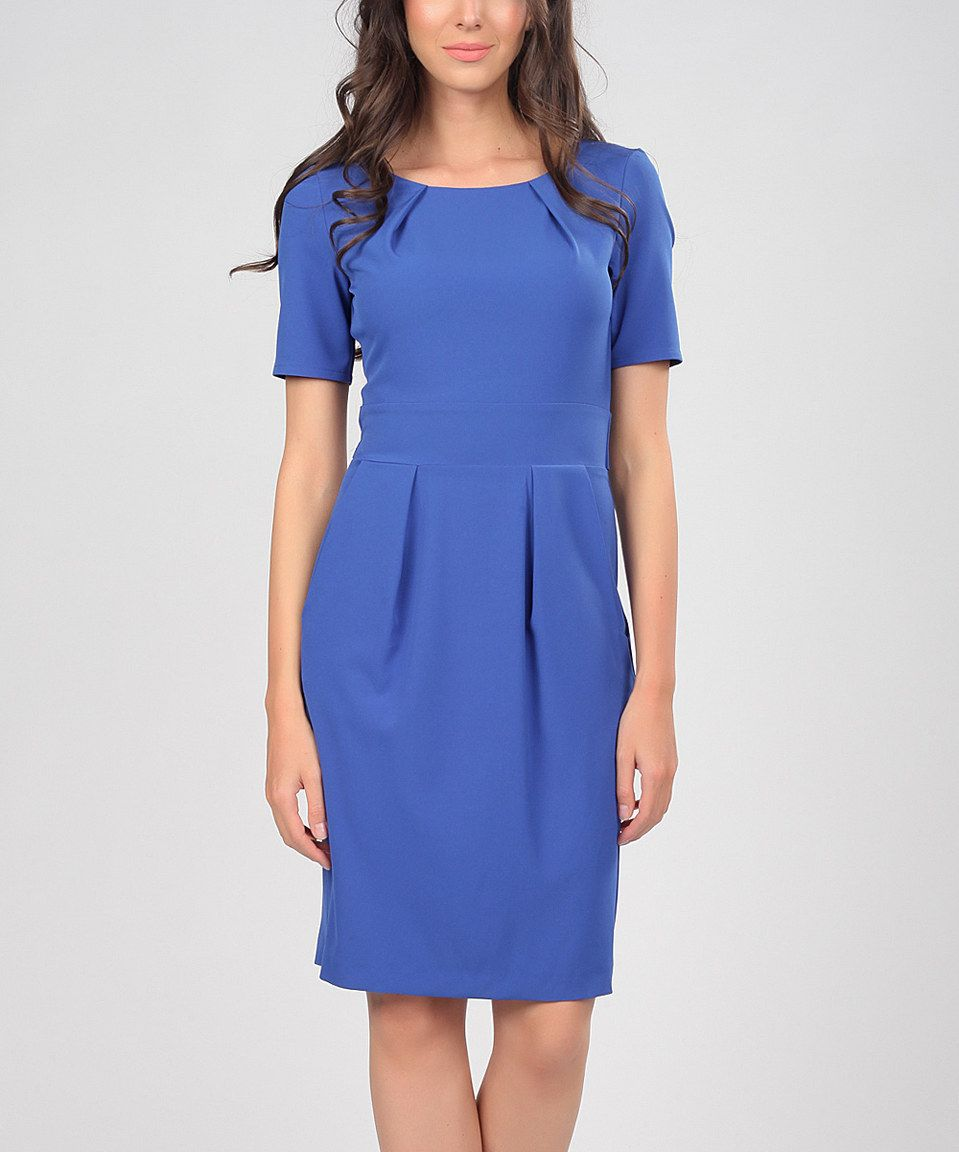 Love this Royal Blue Pleated Sheath Dress by Poesse on #zulily! #zulilyfinds