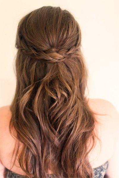 17 Peinados De Novia Cabello Suelto Con Trenza Peinados - Peinado-semirecogido-con-trenza