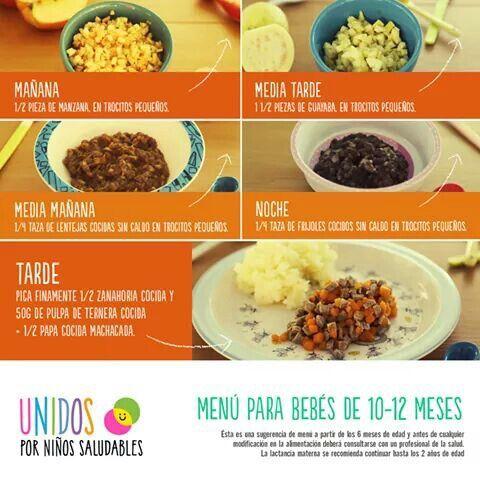 Menu De 10 A 12 Meses Recetas De Comida Para Bebes Comida Para Bebe Comida Para Bebes