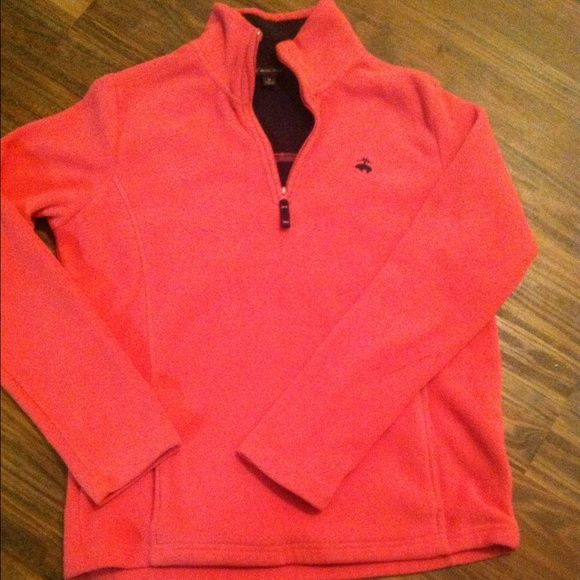 Pink Brooks Brothers Fleece Pullover Pink 1/4 zip fleece women's pullover. Only blemish is a small mark on the back of a sleeve, shown in second picture. Otherwise great condition. Brooks Brothers Jackets & Coats