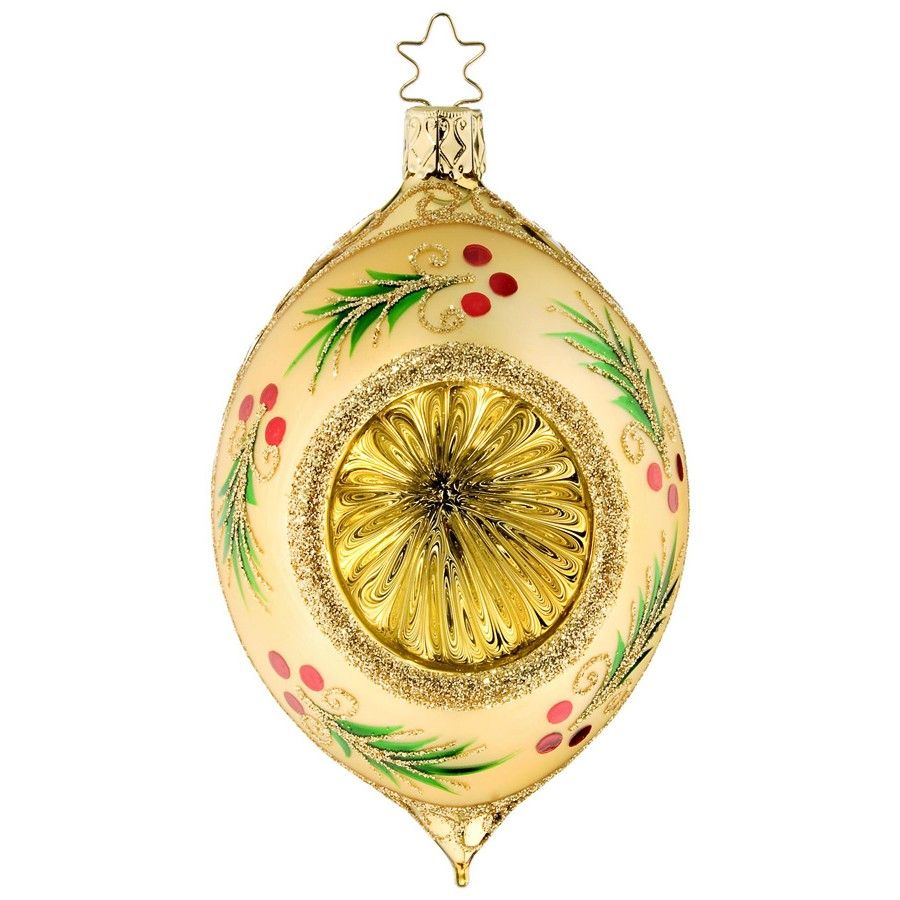 Inge-Glass Glittered Holly Ornament