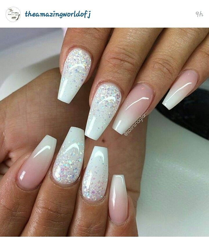 Soft pink and white coffin shaped nails | Nail designs ...