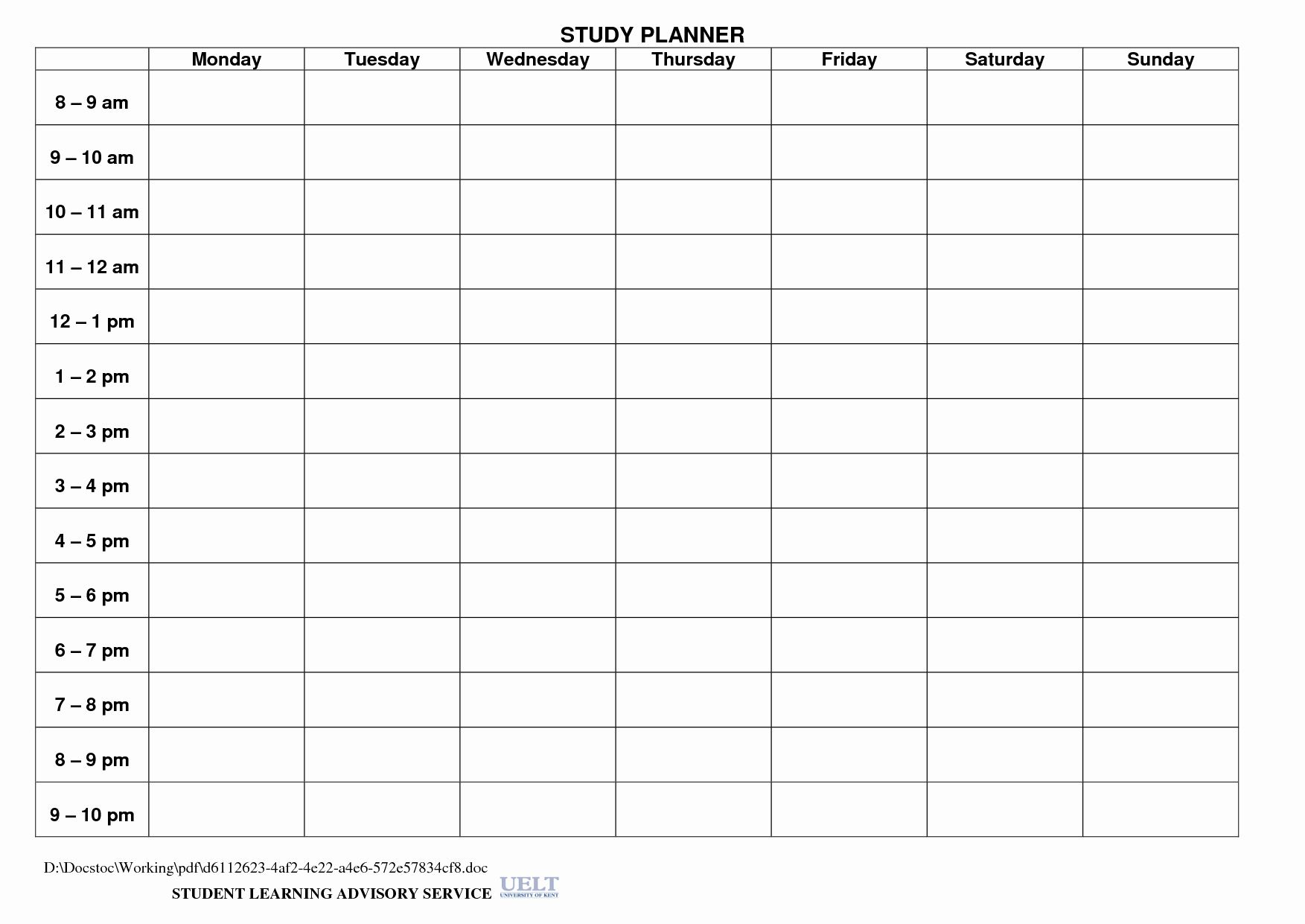 Day Planner Printable Student Weekly Planner Download