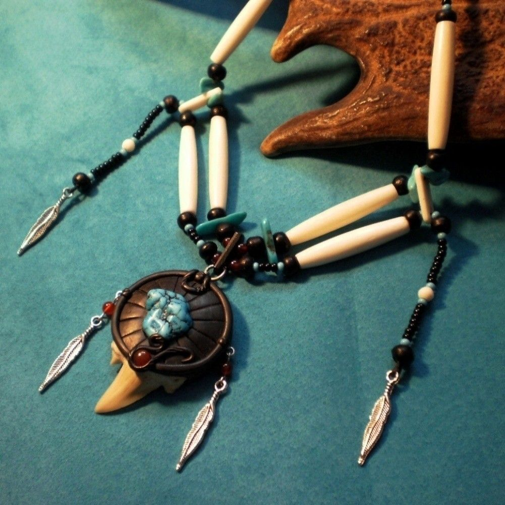 Shark tooth and turquoise bone necklace.