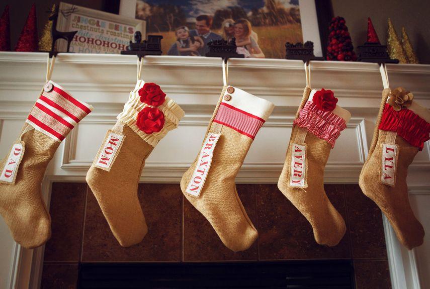 Burlap Christmas Stockings Part - 46: 35 Beautiful Christmas Stockings Worth Hanging