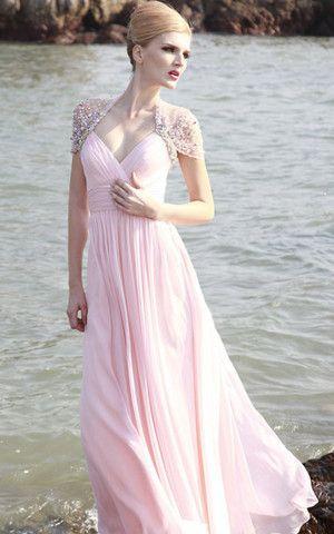 Kurze Ärmeln formelles glamouröses Abendkleid mit ...