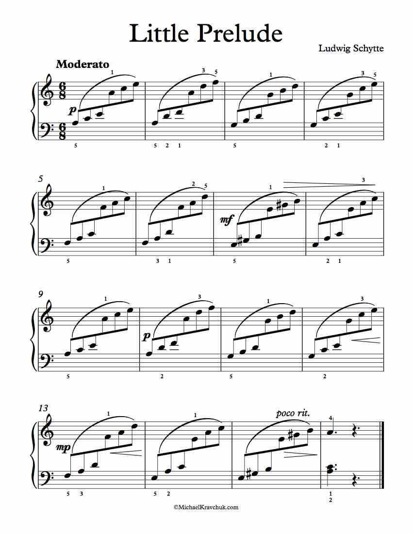 Free Piano Sheet Music – Little Prelude – Ludwig Schytte | sheet