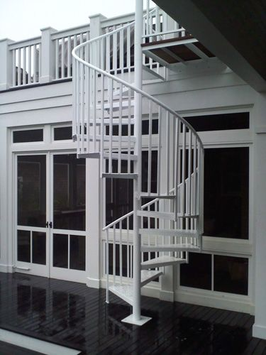 Exterior Spiral Staircase In Aluminum Painted White