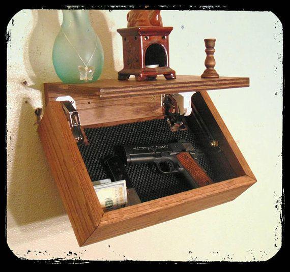 choose color 14 slim oak hidden gun storage compartment floating rh pinterest com